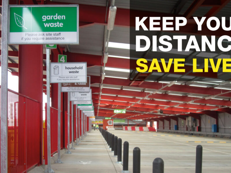 Keep your distance - Inside View of Recycling Centre